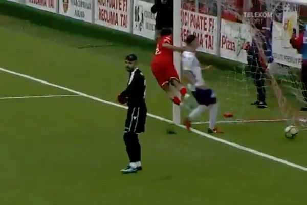 UTA Arad forwards David Popa collides with goalpost celebrating goal during 1-2 defeat to Argeș Pitești