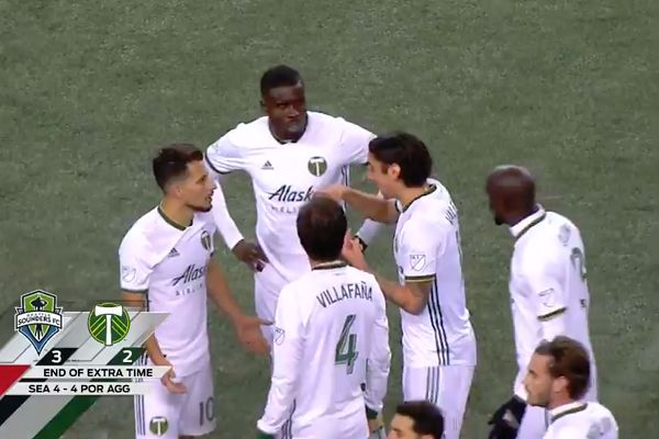Portland Timbers players think they've won a Western Conference semi-final against Seattle on away goals, not realising there will be penalties