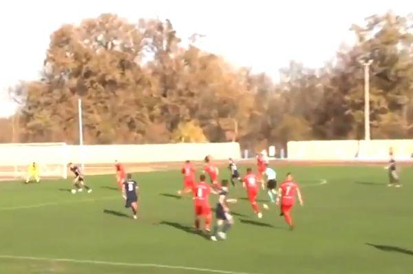 Budućnost Dobanovci defender Slobodan Lučić tries to get ref to disallow TSC goal by bringing second ball onto pitch