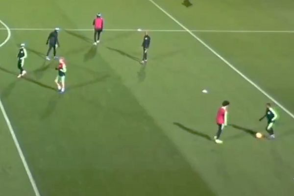 Manchester City players fall about laughing when Raheem Sterling falls over the ball in training