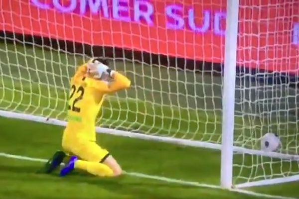 Ascoli goalkeeper Filippo Perucchini scores an own goal at Palermo