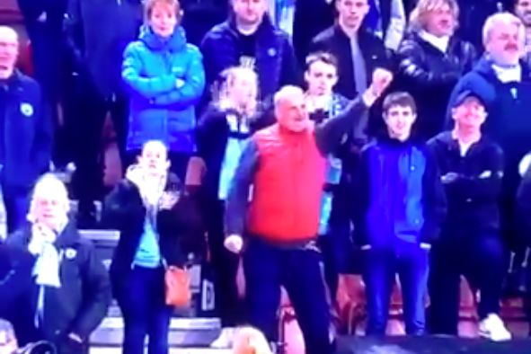 A dancing Man City fan in the stands at St Mary's for their 3-1 win over Southampton