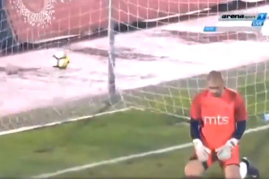 Dinamo Vranje goalkeeper Uroš Đurić lets in the first goal in a 6-0 defeat at Partizan