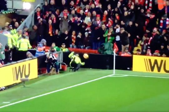 Marouane Fellaini's shot hits a steward at Anfield and knocks him off his stool in Liverpool 3-1 Man Utd