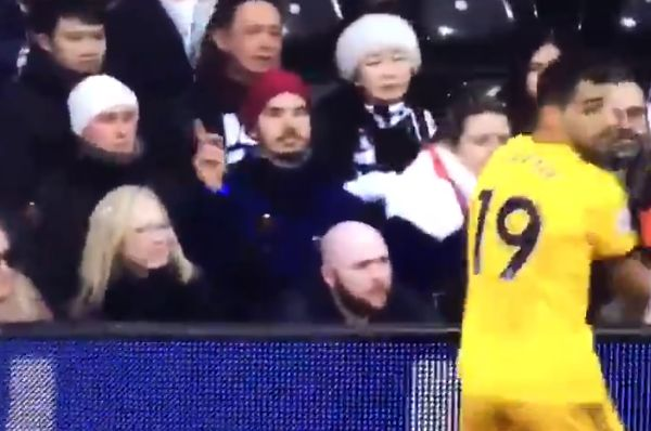 Fulham fan wags his finger at Wolves defender Jonny