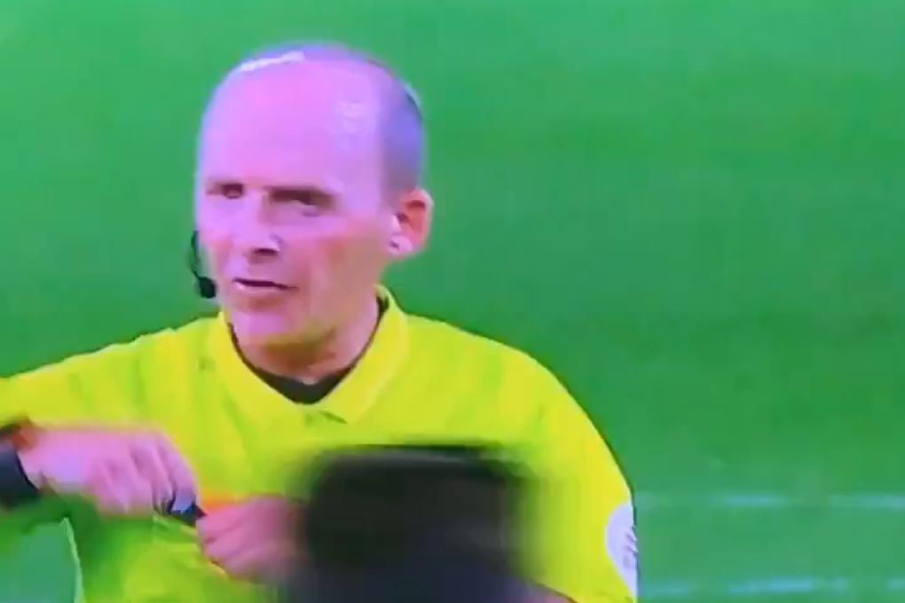 "Referee Mike Dean says ""off you pop"" as he shows a second yellow card and sends off Brighton's Lewis Dunk at Bournemouth"