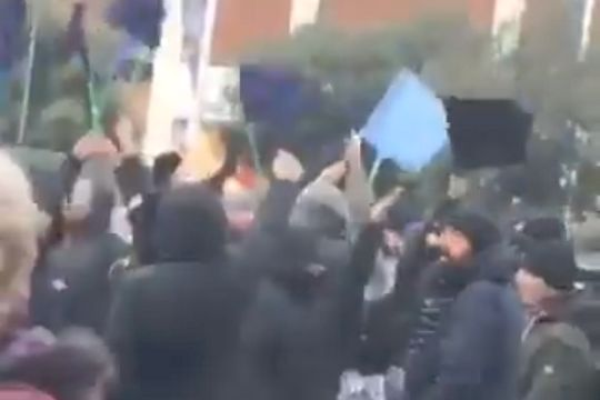 """Napoli fans sing """"F**k you Liverpool"""" outside a club shop in Liverpool before a Champions League tie"""
