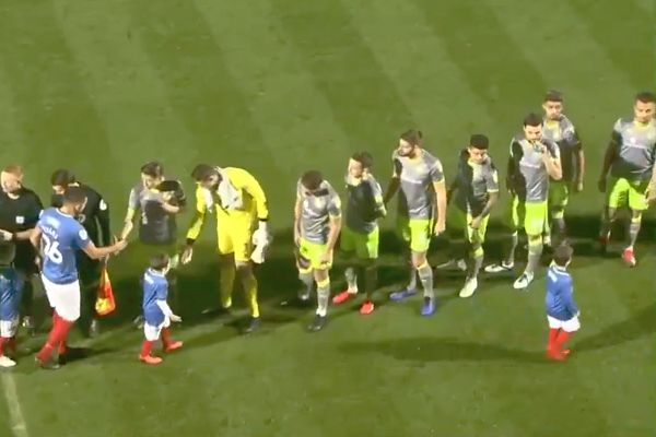 One of the Portsmouth mascot walks off from the pre-match handshakes before a match against Walsall at Fratton Park