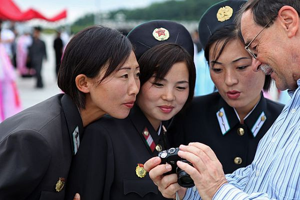 Tourists are being invited to Visit North Korea by a sponsorship board at Blyth Spartans and ad in the matchday programme
