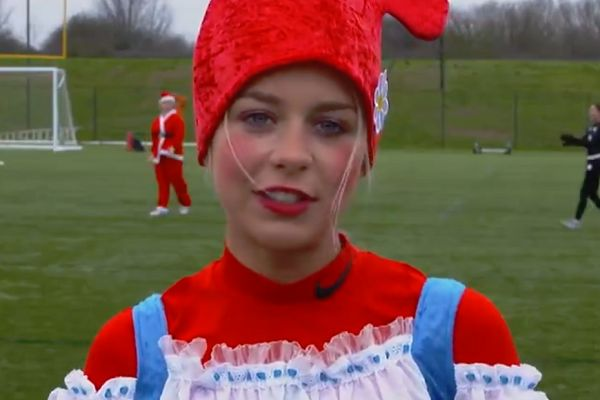 The Bristol City Women's team play a 5-a-side match in fancy dress to promote the FA People's Cup
