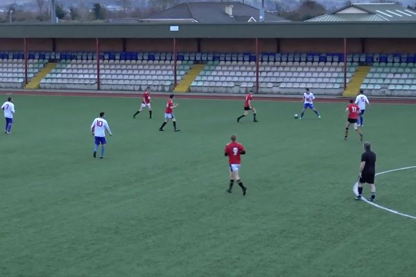 Cedar Galaxy B player does step overs but leaves the ball behind in a Kerry District League game