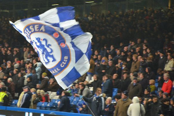 A Chelsea flag was shown the wrong way around by visiting fans during their 4-0 defeat at Bournemouth