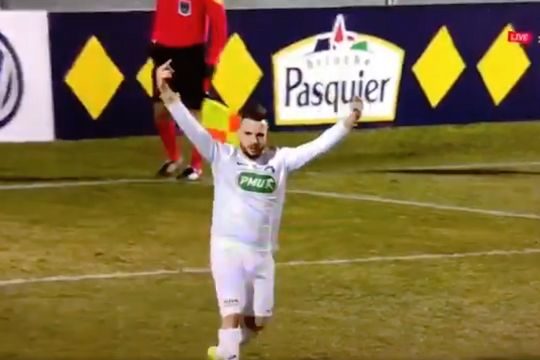 IC Croix's Pierre Derville is sent off during a French Cup penalty shootout at Marignane Gignac for sticking his middle fingers up at the crowd after scoring