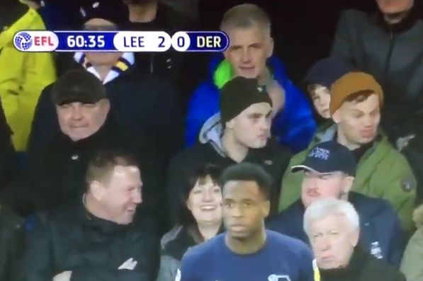 Leeds United fan makes funny faces during his side's 2-0 win over Derby County at Elland Road