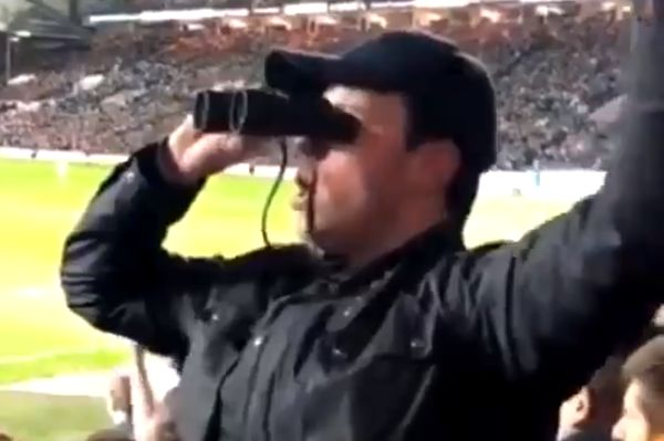 Leeds United fan dressed as a spy at their 2-0 win over Derby County at Elland Road