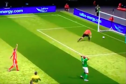 Republic of Ireland's Phil Babb scores an own goal past goalkeeper Tim Dittmer in a game against Wales at Star Sixes 2019