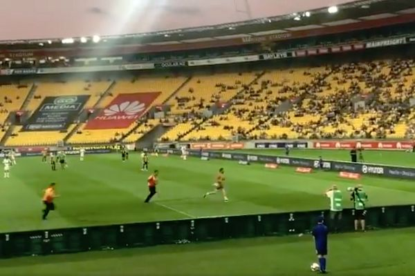 Pitch invader at Wellington Phoenix 3-2 Central Coast Mariners