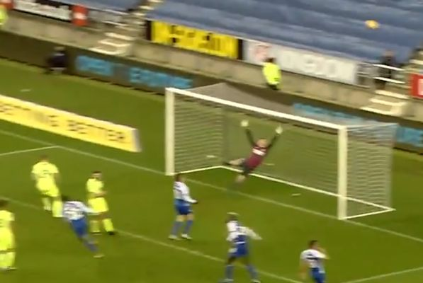 Sheffield United goalkeeper Dean Henderson dives for a shot flying way over the bar during a 3-0 win at Wigan