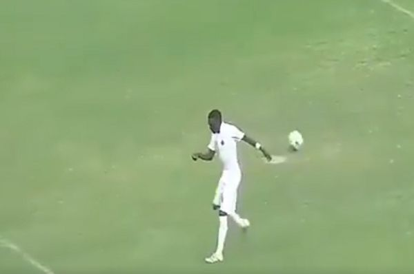 Kariobangi Sharks midfielder Yidah Sven Yidah does a funny walk after injuring himself taking a penalty against Mbao FC