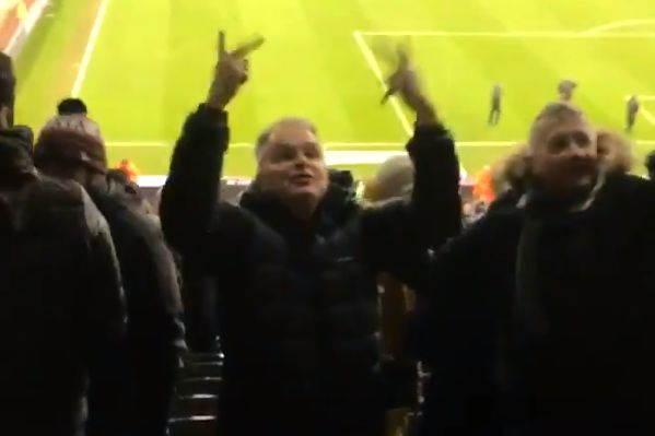 A delighted Newcastle fan swears at Man City supporters during his side's 2-1 win