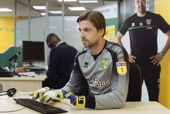 Tim Krul appears in Norwich City's The Office style advert for season tickets