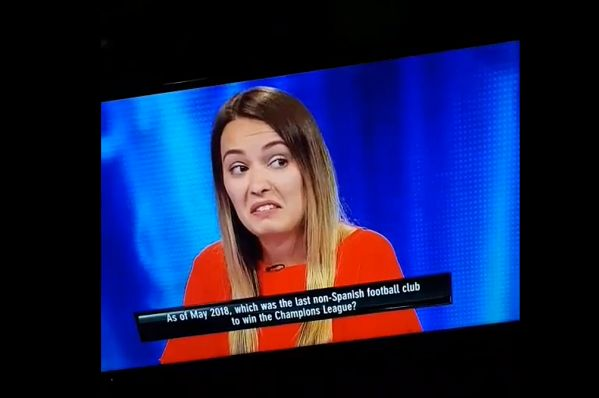 Tipping Point contestant guesses Czech Republic as last non-Spanish Champions League winners