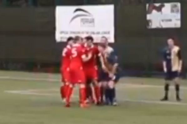Civil Service Strollers player gets sent off for grabbing opponent by the balls during 2-1 defeat to East Kilbride