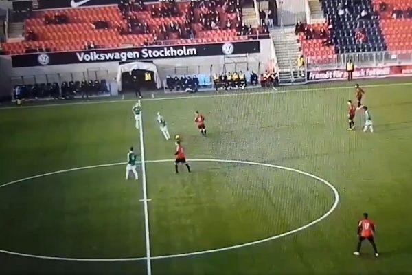 Brage pretend to take free kick at Brommapojkarna