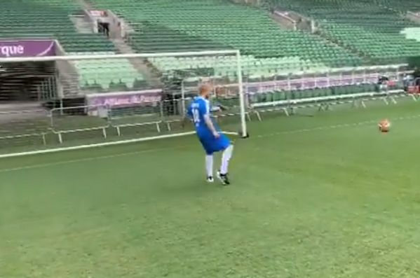 Ed Sheeran misses an open goal at Allianz Parque in São Paulo, Brazil