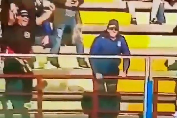 Bari Supporter falls over barrier while celebrating goal at AC Locri 1909 in Italy's Serie D