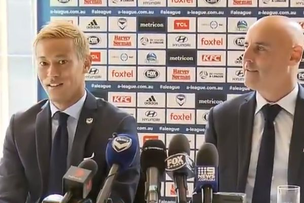 Keisuke Honda apologised after mispronouncing the word 'fact' at a Melbourne Victory press conference alongside head coach Kevin Muscat