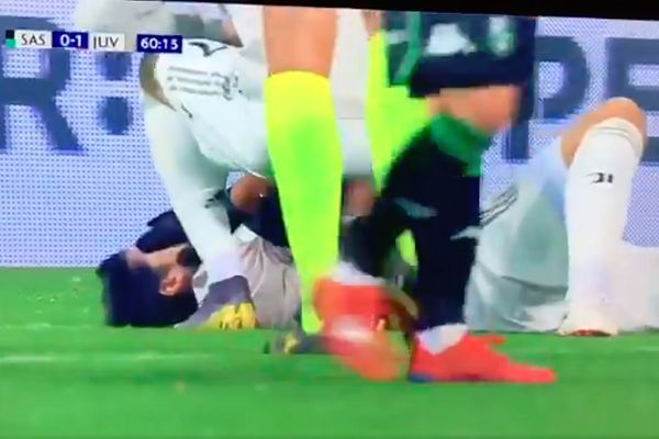 Juventus' Sami Khedira is hit in the face by a ball from Cristiano Ronaldo during a win at Sassuolo