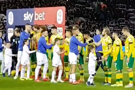 One of the Leeds mascots played a handshake trick on Norwich's Mario Vrančić