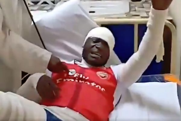 "Man in Arsenal shirt in hospital bed shouts ""Agüero"" when touch, as if he's in pain following a 3-1 defeat at Man City"