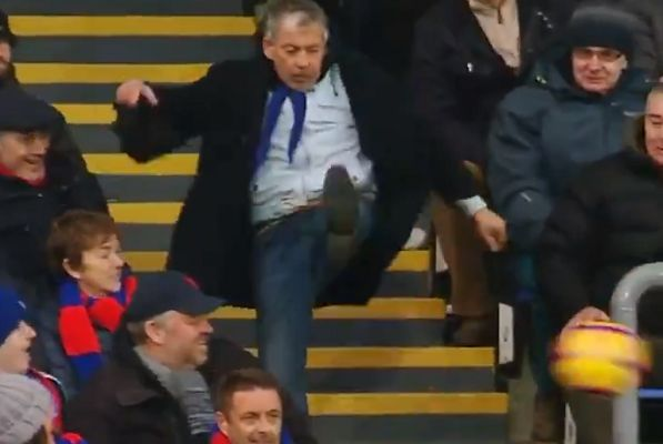 Crystal Palace fan struggles to kick the ball back into play during 1-1 draw with West Ham