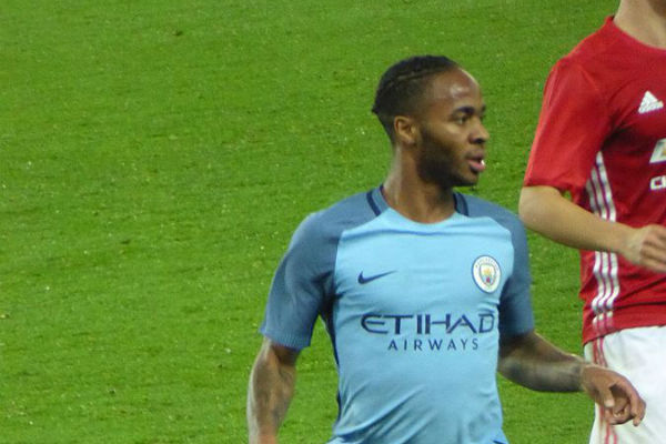 Raheem Sterling saw a Chelsea supporter aiming a rude gesture at him in a photo of his Carabao Cup-winning penalty