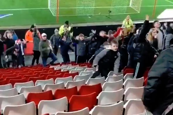 Rowdy schoolchildren in front of old lady at Sunderland vs Accrington Stanley