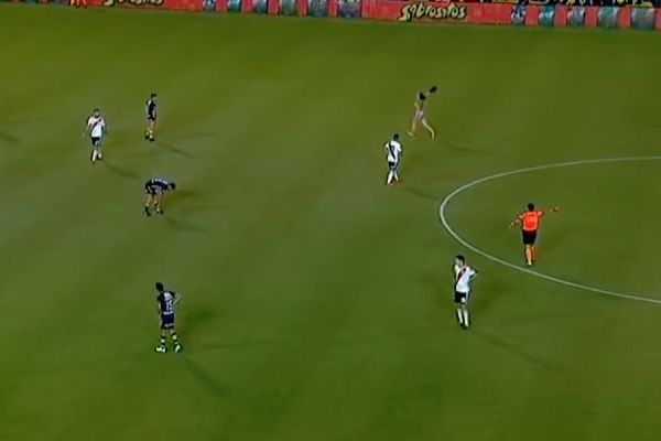 Body-painted streaker at Rosario Central vs River Plate