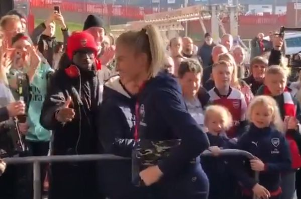 AFTV's Ty misses out on a handshake with Leah Williamson before the Women's League Cup final defeat to Man City