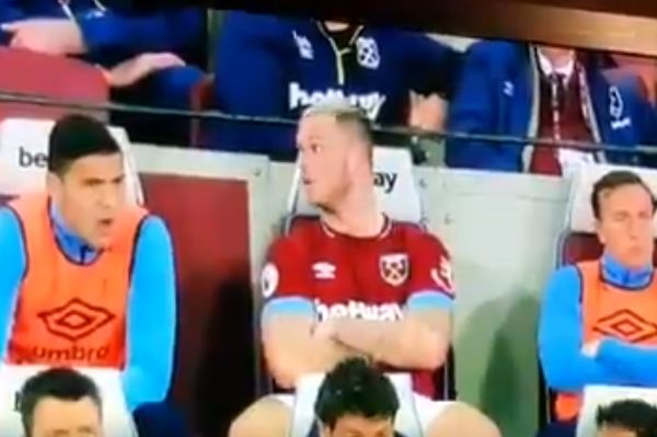 """West Ham's Marko Arnautović appears to tell a fan to """"shut the f*** up"""" after he was booed off during a 0-2 defeat to Everton"""