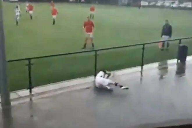 AVC Heracles player slips over fence twice during amateur game in Holland