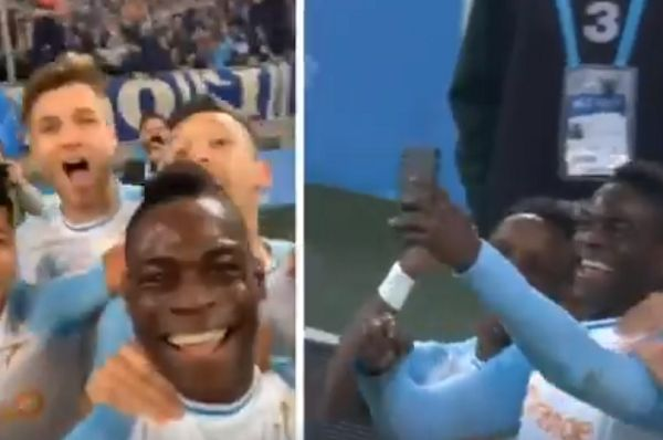 Mario Balotelli films his goal celebration for Instagram Live during the 2-0 win over Saint-Étienne