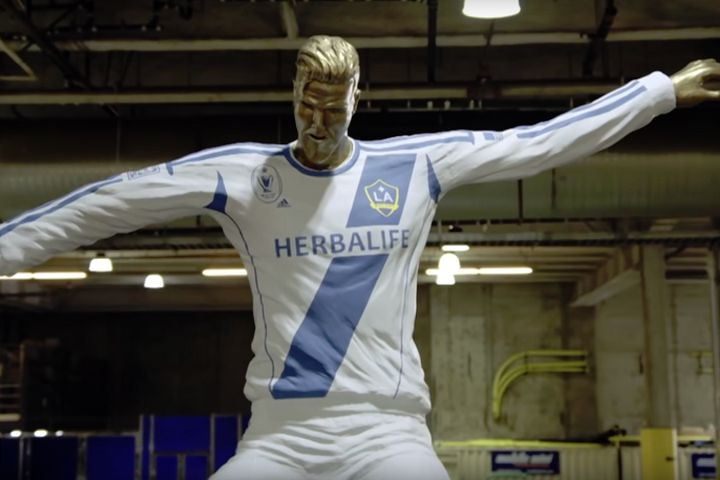 The fake statue used to prank David Beckham on The Late Late Show with James Corden