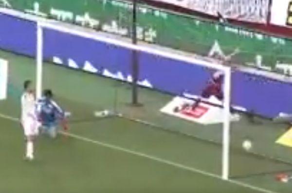Andrés Iniesta trips on an advertising hoarding after Lukas Podolski's goal for Vissel Kobe against Shimizu S-Pulse
