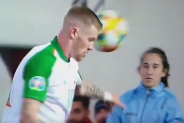 Ball girl throws ball at James McClean after he turns away during Gibraltar 0-1 Republic of Ireland