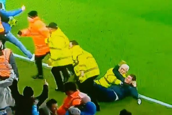 Newcastle fan continues to celebrate goal while being held down by steward at Bournemouth in 2-2 draw