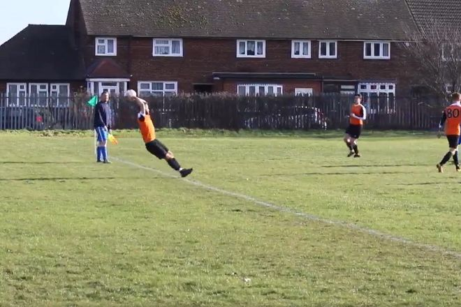 Palmers FC player slips when taking throw-in in amateur game