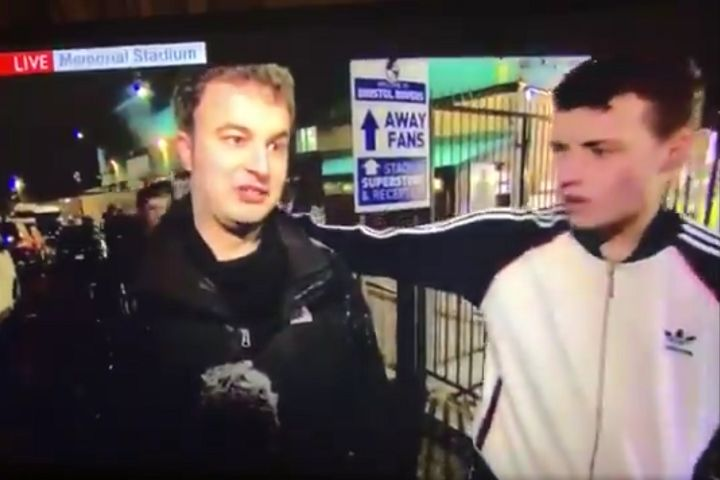 A drunk Sunderland fan intervenes during an interview on BBC Look North before a Checkatrade Trophy semi-final against Bristol Rovers