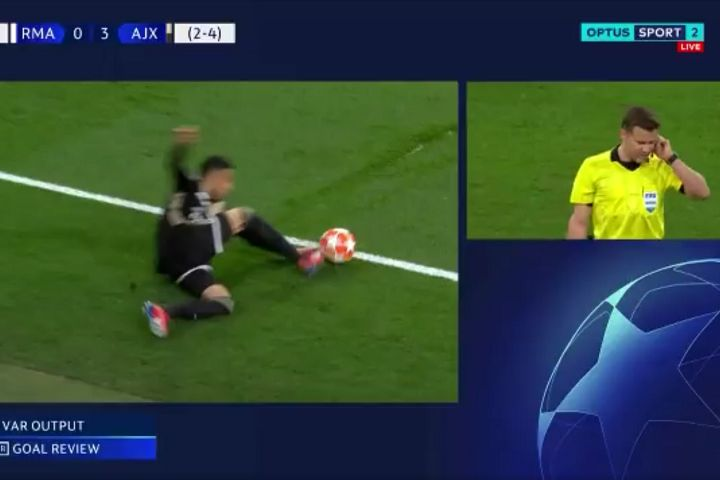 """Australian commentator Brian Taylor shouts """"that was out of bounds"""" after VAR rules on Ajax goal at Real Madrid in their 1-4 win"""