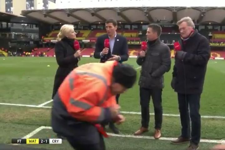 Steward walks through live BT Sport interview with Watford manager Javi Gracia's after 2-1 FA Cup quarter-final win over Crystal Palace